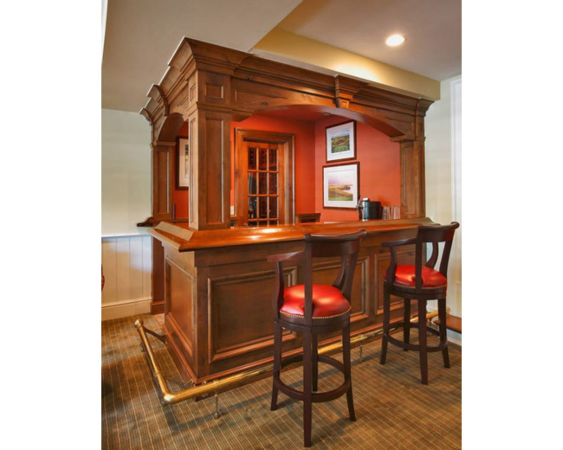 Sturdy Wooden Stools Give The Custom Home Bar A Classic Look.