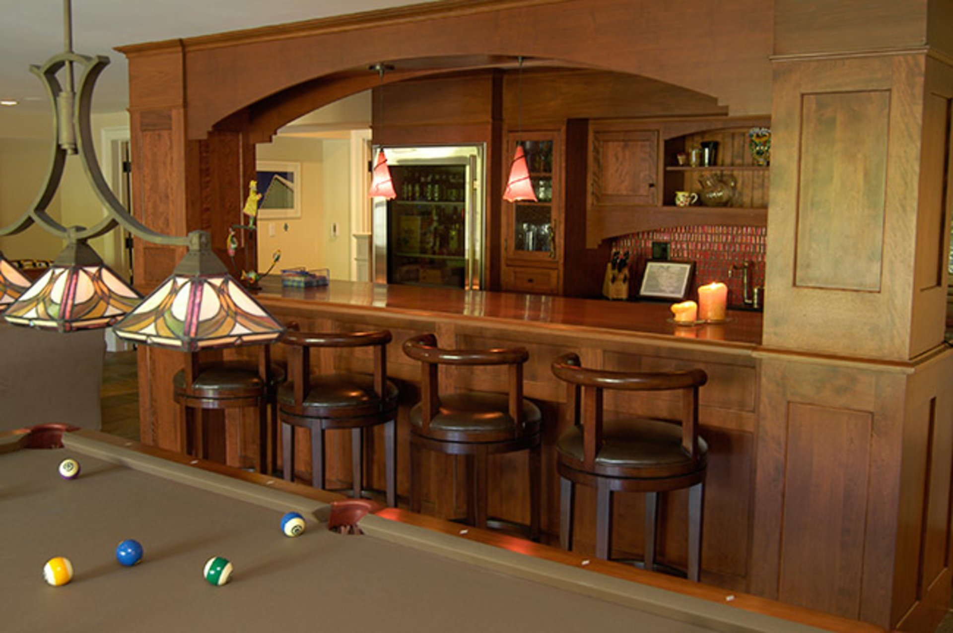 Custom Lighting Sets The Mood For The Custom Home Bar.